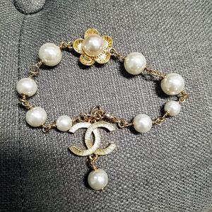 Authentic chanel charm goldtone bracelet